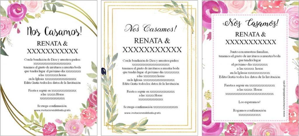 Invitaciones de Boda para imprimir gratis